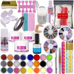 glitter sand art NZ - DIY Nail Art Decorations Uv Gel Kit Brush Buffer Tool Nail Tips Glue Colorful Acrylic Powder Glitter Sanding Files Salon Set To