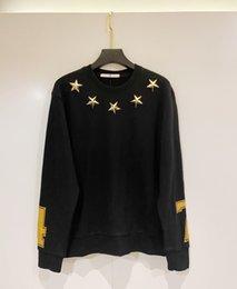 Wholesale metal sweatshirt for sale – custom 2020 man sweatshirts new hip hop sweatshirt cotton smooth handsome Top material Metal three dimensional five pointed star designe sweatshirt