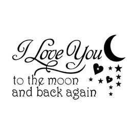 Wholesale star quotes online – design Moon and Star Loving Quotes Removable Wall Vinyl Wall Stickers Lettering Decal