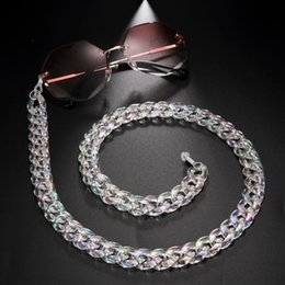 sunglasses chain straps Canada - Skyrim Gloss White Acrylic Sunglasses Chains Women Girls Reading Glasses Chain Lanyard Eyewear Cord Eyeglass Rope Strap Gift