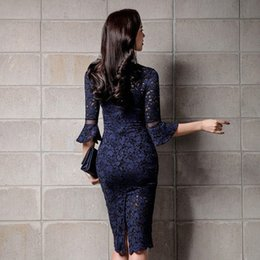 sexy part dresses NZ - Hot Sexy Women Deep V Neck Bodycon Wrap Lace Floral Crochet Hollow Out Party Dresses Office Lady Knee Length Pencil Dress Juniors Part tMWA#