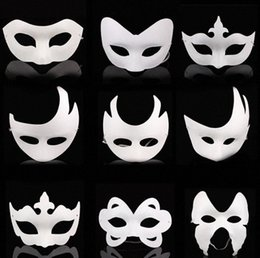 diy paint masquerade mask UK - DIY hand painted Halloween white face mask crown butterfly blank paper mask masquerade cosplay mask kid draw party masks props SN144 c13A#