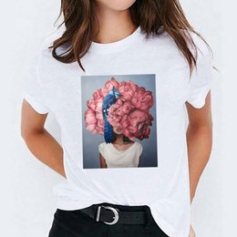 t shirt birds women Australia - Women Flower Bird Cute Ladies Painting Lady Womens Tops Graphic T-Shirt Aesthetic Tees Print Female Camisas T Shirt T-shirts