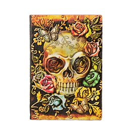 note books a5 NZ - PU Leather A5 Office Note Book Embossed Skull Stationery Daily Halloween Gift