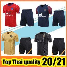 Wholesale set soccer t shirts resale online – 2020 paris Short sleeve tracksuit MBAPPE CAVANI training suit Paris t shirt short pants football uniform set