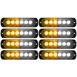 led bar signal car NZ - Car White Yellow Amber Strobe Led Light 6 LED Strobe Signal Warning Light Bar Security Flash Flashing Bulb Surface Mount Lamp 12V 24V