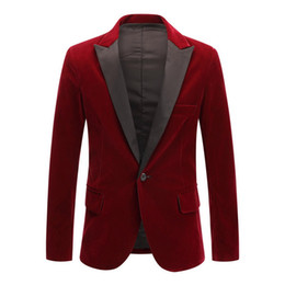 Wholesale velvet wedding blazers jackets for sale - Group buy Men s New Spring Velvet Wine Red Black Fashion Leisure Suit Jacket Wedding Groom Singer Slim Fit Blazer Hombre Masculino