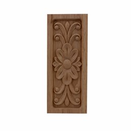 home decor furniture Australia - VZLX Creative Irregular Flower Carving Furniture Cabinet Door Wood Applique Nautical Home Decor Wooden Moldings Figurines