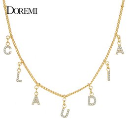 personalized name pendants Australia - DOREMI 3A Zircon Personalized Gold Name Necklace with Letter Numbers Custom Copper Necklaces for Women Girl Font Pendant Choker Y200810