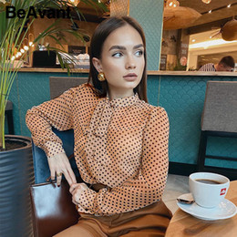 Wholesale multi color polka dot shirt resale online - BeAvant Polka Dot Ladies OL Blouses Spring Long Sleeve Neck Tie Chiffon Blouse Shirts Elegant Women Casual Blusa Tops Chic