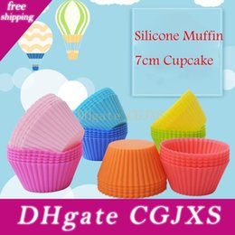 bake cupcake maker NZ - Colorful 7cm Silicone Muffin Cupcake Round Shaped Mould Bakeware Maker Mold Tray Baking Cup Liner Baking Molds Kitchen Accessories