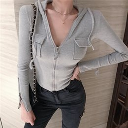 korean clothes sweater knits Australia - Korean Clothes Spring Autumn Hooded Pocket Sweater Women Slim Zipper Cardigan Long Sleeve Stretchy Knitted Jumper Tops M9N802 CX200810