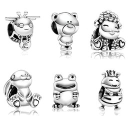 sheep jewelry Australia - Small animals bee bear charms adapting original pandora bracelet & bangle accessories diy frog sheep bead jewelry women