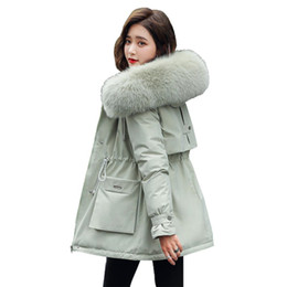 Wholesale army jacket female resale online – Ladies Velvet Liner Thicken Hooded Parka Women Slim With Big Fur Collar Outerwear Autumn Winter Jacket Women Coat Parkas Female CX200814