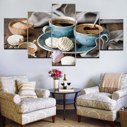 framed paint coffee Canada - 5 Panel Modern Paintings Canvas Wall Decor Picture for Bedroom Kitchen Coffee Quadro Canvas Painting Oil Art Poster Home Decor