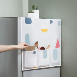 fridge covers Canada - PEVA Refrigerator Hanging Storage Bag Oven Waterproof Dust-proof Cover Creative Printed Fridge Organizer Bag Pouch Kitchen Supply DBC VT0450