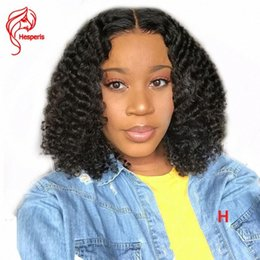 short human hair wig curls Australia - Hesperis Curly Human Hair Wigs Pre Plucked 130 Denstity Brazilian Remy Hair 13x6 Short Curl Lace Front Human Wigs Cheap Human Full Lac AmOs#