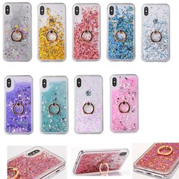 liquid glitter star case UK - cgjxs Bling Glitter Love Heart Star Dynamic Liquid Quicksand Ring Stand Cover Case For Iphone 11 Pro Xs Max Xr X 8 7 6 6s Plus