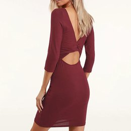 wine red bodycon dress UK - Sexy Dress Women O Neck Streetwear Female Dress A Line Bodycon Skinny Black Wine Red Backless O Neck Fashion Hip