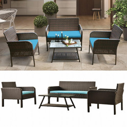 SHip From USA U_Style 4 Piece Rattan Sofa Seating Group with Cushions, Outdoor Ratten sofa WF190610AAC on Sale