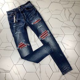 Wholesale dark blue rip jeans resale online – designer 2020 Mens Designer Jeans Distressed zipper Hole Men Jeans High Quali washed old ripped MX1 water ripple red flaky leather jeans AMI slim man
