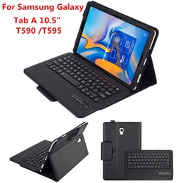 keyboard wireless tab UK - Tablet PC Wireless Detachable Bluetooth Keyboard Stand Folding Leather Protective Case Cover for Samsung Tab A 10.5 T590 T595