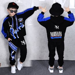 Wholesale hip hop kids outfit resale online - Fashion Set Kids Suit Boys Autumn Outfit Suits Hip Hop Piece Sets Unisex Cotton Red Blue Parkour Boy Clothing Letter Print