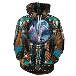 indian clothing sizes NZ - tXC7y Winter new sweater clothing Indian Digital Coat Digital printing fashion coat casual large size hooded sweater for women