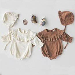microfiber clothing Australia - Summer Baby Bodysuit Spring Newborn Clothes Baby Boy Korean Version of the Lotus Leaf Collar Long Sleeve Jumpsuit Girls Jumpsuit