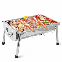 stainless steel charcoal barbecue grills NZ - Household Mini Barbecue Rack Outdoor Portable BBQ Charcoal Stove Stainless Steel BBQ Grill For 3-5 People fjGJ#