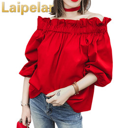 womens red blouses Australia - Off Shoulder Tops Women 2020 Summer Fashion Casual Slash Neck Blouse White Black Red Lantern Sleeve Loose Ruffle Blouses Womens