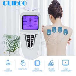 Discount electric back massager OLIECO USB Rechargeable Pulse Massager Electric Muscle Stimulator Tens Acupuncture Therapy Portable Back Full Body Pain Release