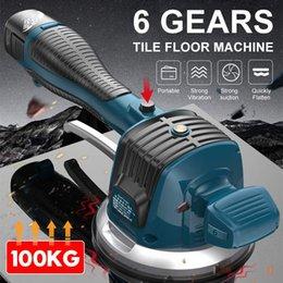 Vente en gros Ensembles d'outils d'alimentation 60-120mm de carreaux sans fil Vibromates de carreaux de tuiles de plâtre Machines de vibration avec 2 vibrateurs de sol auto batterie Nivelant