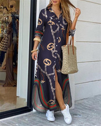 Wholesale shirt collar size for sale – plus size Women Turn Down Collar Shirt Long Dress Summer Button Chain Print Dress Casual Autumn Long Sleeve Beach Maxi Dress Vestido XL HT