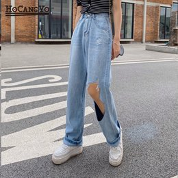 Wholesale womens ripped jeans resale online - Women Hole Ripped Jeans Summer High waisted Straight Jeans Pants Womens Casual Light Blue Vintage Wide leg Pants Trousers