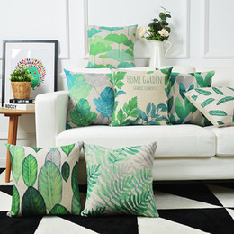 watercolor pillow cushion covers Australia - Rural Watercolor Floral Pillow Cover Green leaves Cushion Cover Home Decorative Linen Pillow Case Office Sofa Cushion