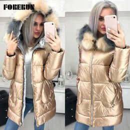 winter women down parka padded Canada - FORERUN Big Fur Hooded Jacket Women Long Winter Coat Female Glossy Casual Jackets Cotton Padded Parka Manteau Long Femme Hiver T200814