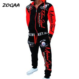 ZOGAA 2020 Brand Men Trasuit 2 Pieces Tops and Pants Men's SweatSuits Set Letter Print Plus Size Jogger Sets for Men Clothing