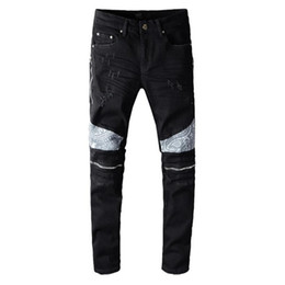 hot sale New Mens Distressed Ripped Biker Jeans Slim Fit Motorcycle Biker Denim For Men Fashion Hip Hop Mens Jeans Good Quality