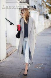 Wholesale women wool coat grey slim for sale - Group buy Women S Grey Wool Coats Winter Long Coat New Design Hollywood Warm X Long Oversize Imitation Cashmere Coats Light Grey