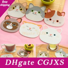 pink silicone coasters UK - 6 Styles Cute Cat Pattern Coaster Durable Table Pad Silicone Insulation Placemat Cup Bowl Mat Tableware Cushion Home Decor High Quality