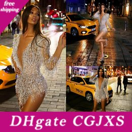 beads see through dresses UK - Long Sleeve 2020 Cocktail Dresses Sexy Short Deep V Neck Crystal Beads Prom Dress See Through Sexy Mini Evening Gowns