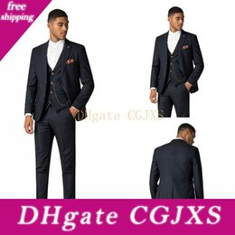 Wholesale male jackets for sale resale online – Custom Made Classic Appoinement Men Suits Three Pieces Jacket Pant Vest Two Buttons Peaked Lapel Male Wedding Suits For Sale