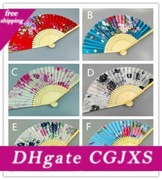 Wholesale jazz dancing resale online - Colorful Chinese Bamboo Folding Hand Fan Flowers Floral Wedding Dance Party Decor