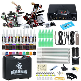 Wholesale Dragonhawk Tattoo Kit 2 Guns 20 Color Inks Power Supply with Carry Case HW-8GD-9