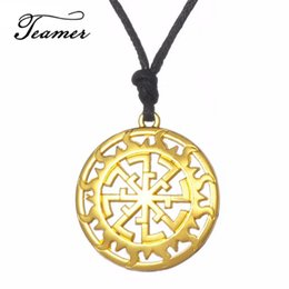 jewelry pedants NZ - Teamer New Arrival Hollow Sun Talisman Pedant Necklace Russian Gold Round Power Amulet Jewelry For Woman Man  Friends