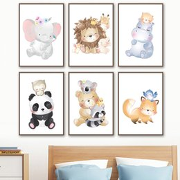 baby panda bears Australia - Elephant Panda Lion Bear Fox Raccoon Hippo Wall Art Canvas Painting Nordic Posters And Prints Wall Pictures Baby Kids Room Decor