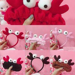 Wholesale big crabs online – design Japanese Korean cartoon Harajuku cute crab plush antler elastic hair band big eyes wash face hair band for women IwDKD