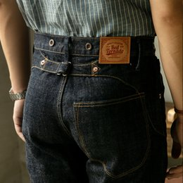 Wholesale raw wash jeans for sale - Group buy FBC Read Description OZ raw indigo selvage denim pants one washed sanforized thick raw denim buckle back jean MX200814