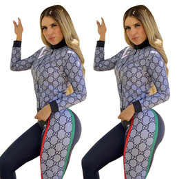 Wholesale women tracksuit jackets online – oversize Free Ship New Women Fashion Print Tracksuit Casual Slim Jacket and Pants Set Female Outfits XXL